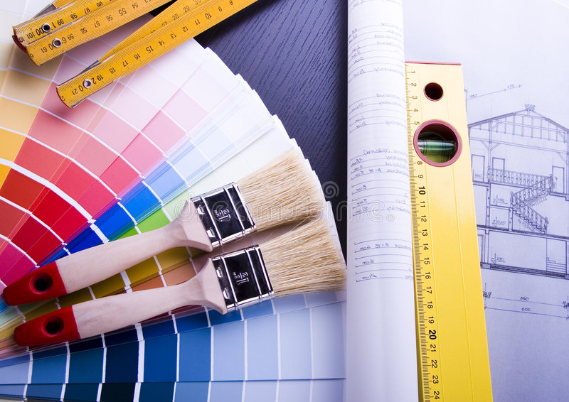 Échantillons et plan de couleur images stock