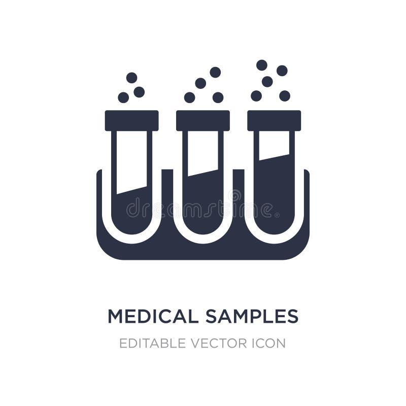 échantillons médicaux dans l'icône de couples de tubes à essai sur le fond blanc Illustration simple d'élément de concept médical illustration libre de droits