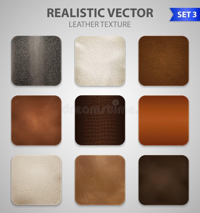 Échantillons réalistes de corrections de cuir réglés illustration stock