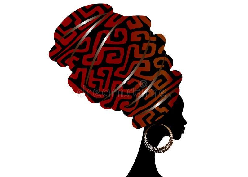Écharpe africaine, femme d'Afro de portrait dans un turban de geometri Mode tribale d'enveloppe, Ankara, Kente, kitenge Robes nig illustration de vecteur
