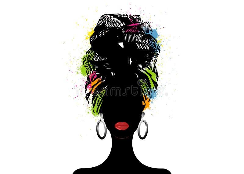 Écharpe africaine, femme d'Afro de portrait dans un turban rayé Mode tribale d'enveloppe, Ankara, Kente, kitenge, robes africaine illustration de vecteur