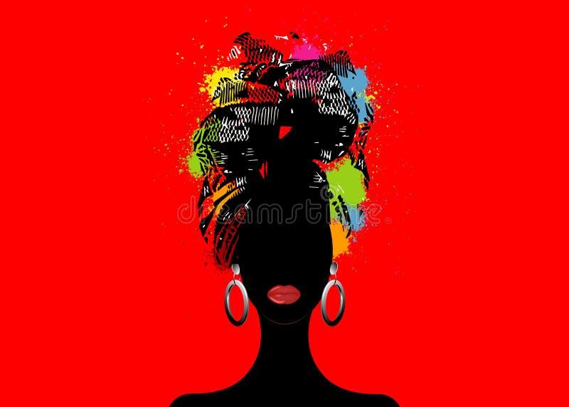 Écharpe africaine, femme d'Afro de portrait dans un turban rayé Mode tribale d'enveloppe, Ankara, Kente, kitenge, robes africaine illustration libre de droits
