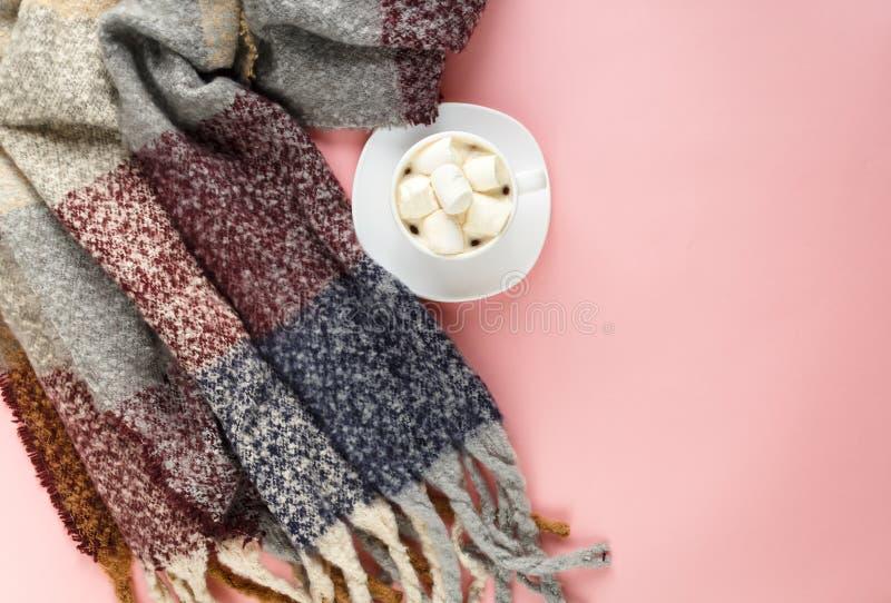 Écharpe chaude et confortable d'hiver et tasse de café blanche avec la guimauve blanche comme cadre sur le fond rose en pastel image stock