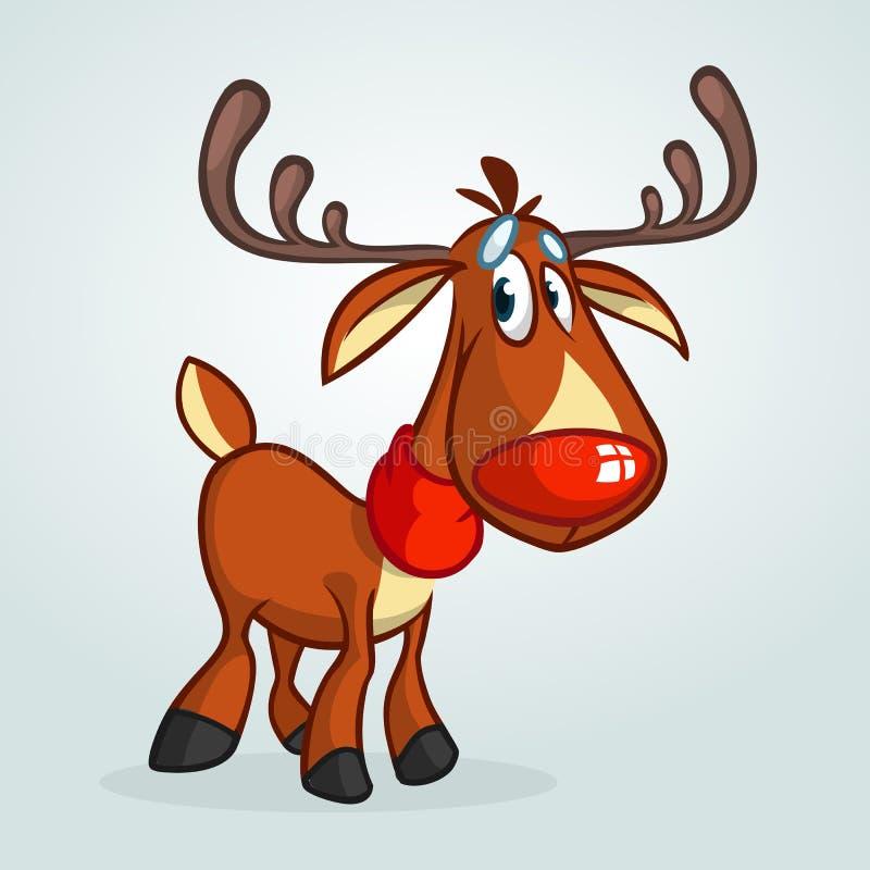 Écharpe de port de bande dessinée de nez de caractère rouge heureux de renne tout le Noël clôturé éditent la possibilité de pièce illustration stock