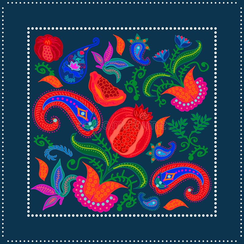 Écharpe en soie avec des paisleys et des fleurs de floraison illustration libre de droits