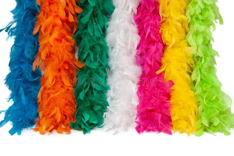 Écharpe multicolore de plume de costume, plume pelucheuse de costume images stock