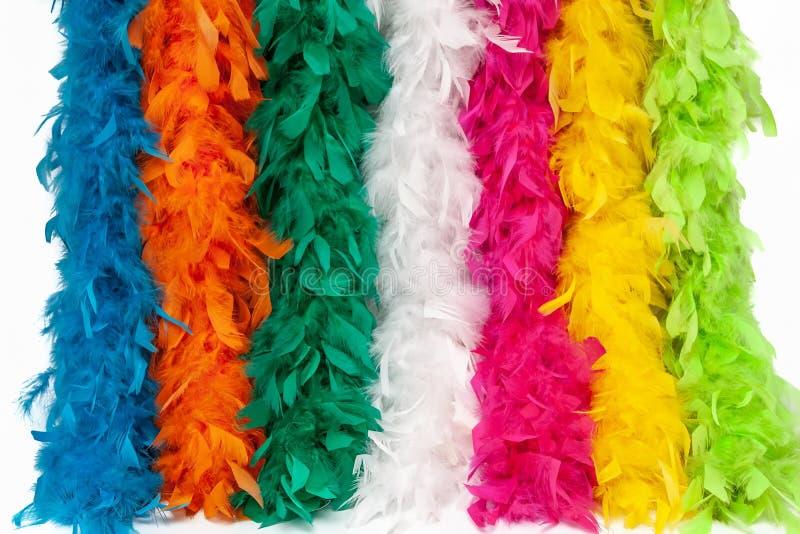 Écharpe multicolore de plume de costume, plume pelucheuse de costume photos stock