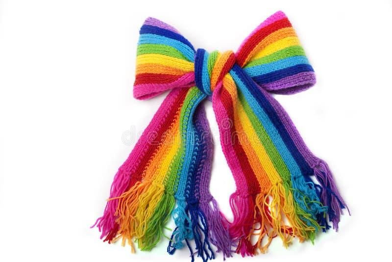 Écharpe tricotée par arc-en-ciel lumineux images libres de droits
