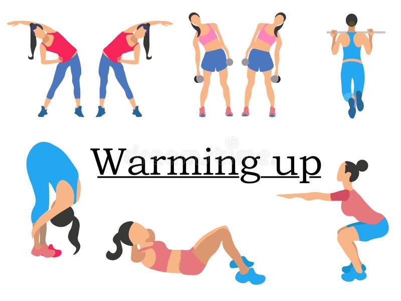 Échauffement d'étapes Le sport pour la santé, montre clairement la fille Dans le style minimaliste Vecteur plat de bande dessinée illustration de vecteur