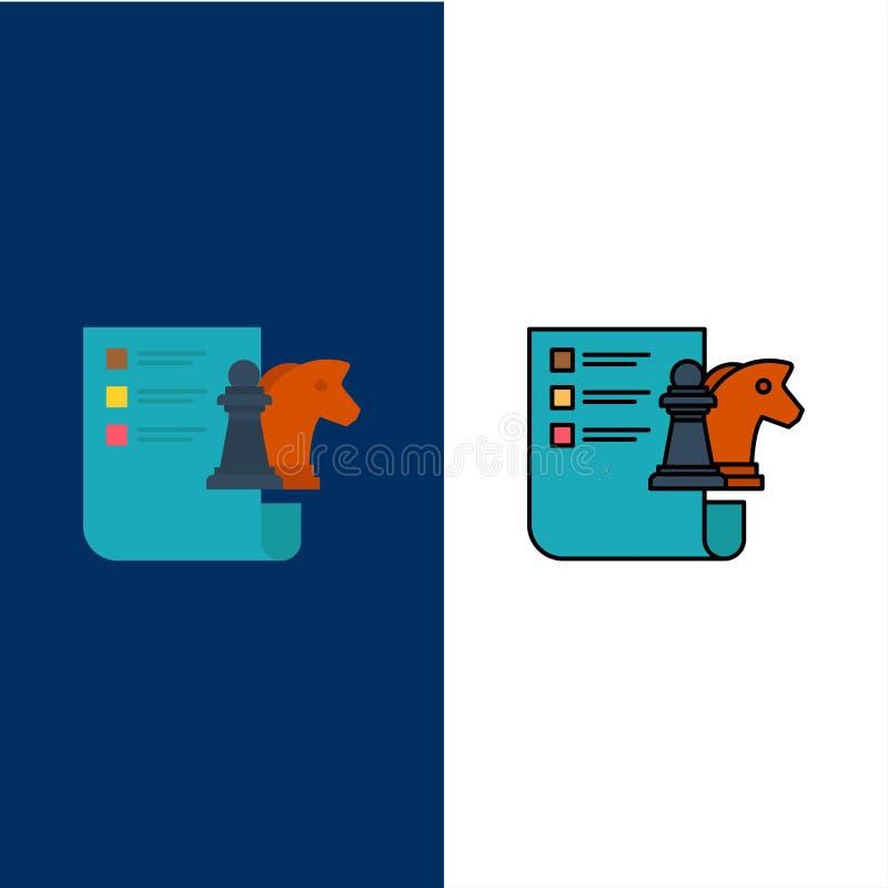 Échecs, affaires, stratégie, icônes de planification L'appartement et la ligne icône remplie ont placé le fond bleu de vecteur illustration de vecteur