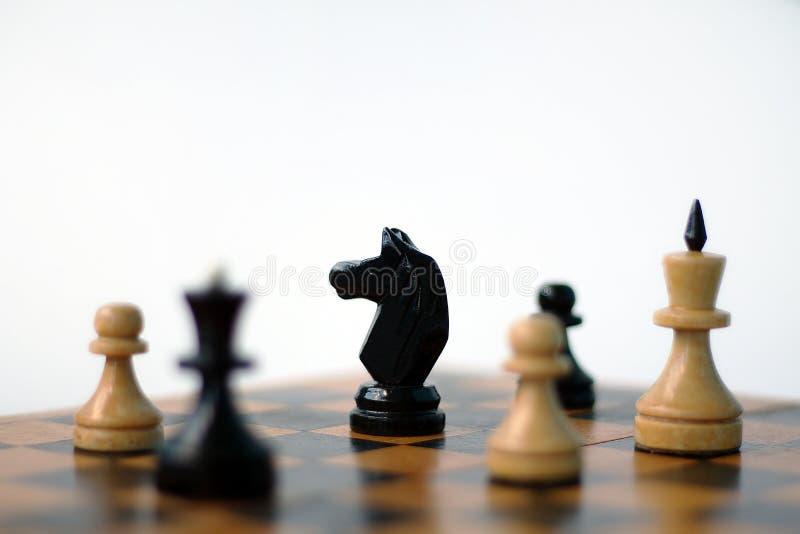 Échecs Chevalier noir sur l'échiquier photographie stock libre de droits