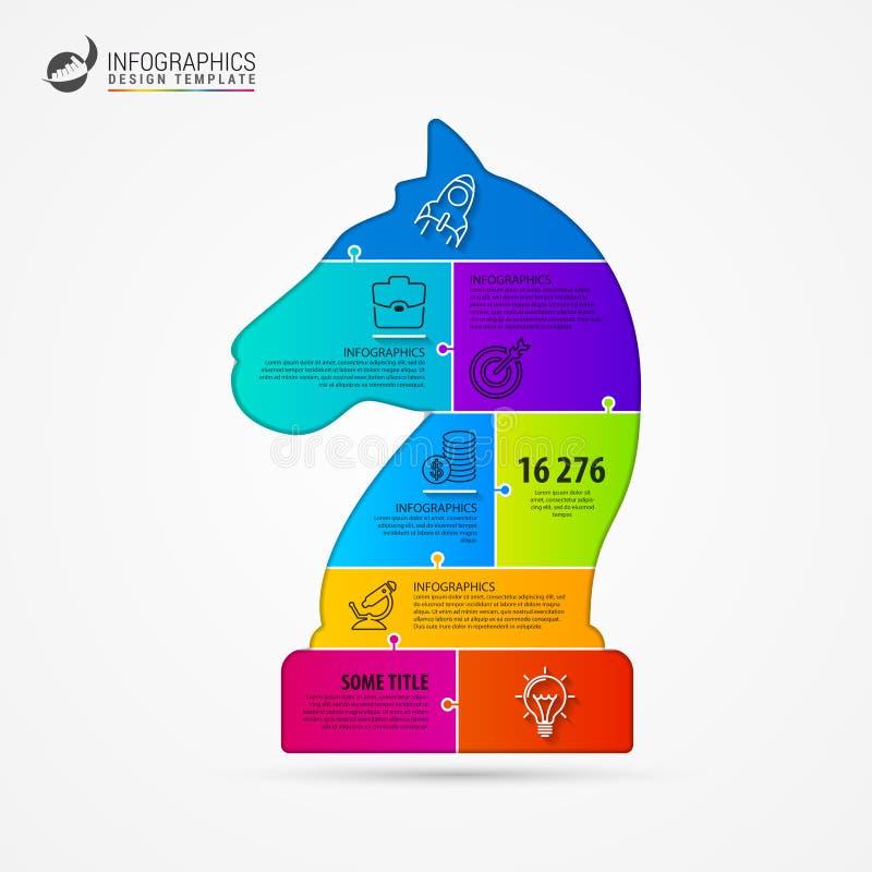 Échecs Concept de stratégie commerciale Calibre de conception d'Infographic illustration stock