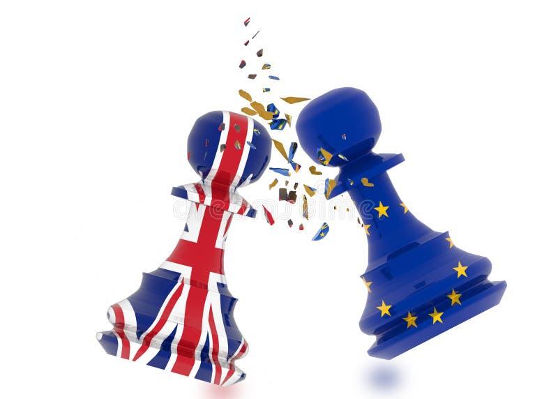 Échecs de gage d'Union européenne de Brexit l'Europe - rendu 3d illustration stock