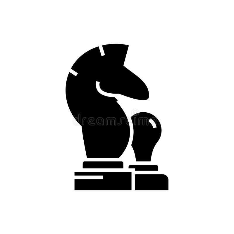 Échecs - le cheval, icône de gage, illustration de vecteur, noir se connectent le fond d'isolement illustration stock