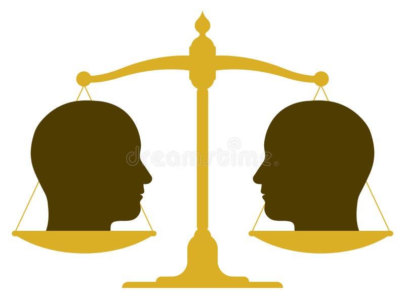 Échelle équilibrée avec deux têtes illustration stock
