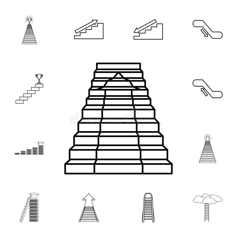 Échelle avec l'icône de flèche Ensemble détaillé d'icônes d'escalier Conception graphique de la meilleure qualité Une des icônes  illustration de vecteur