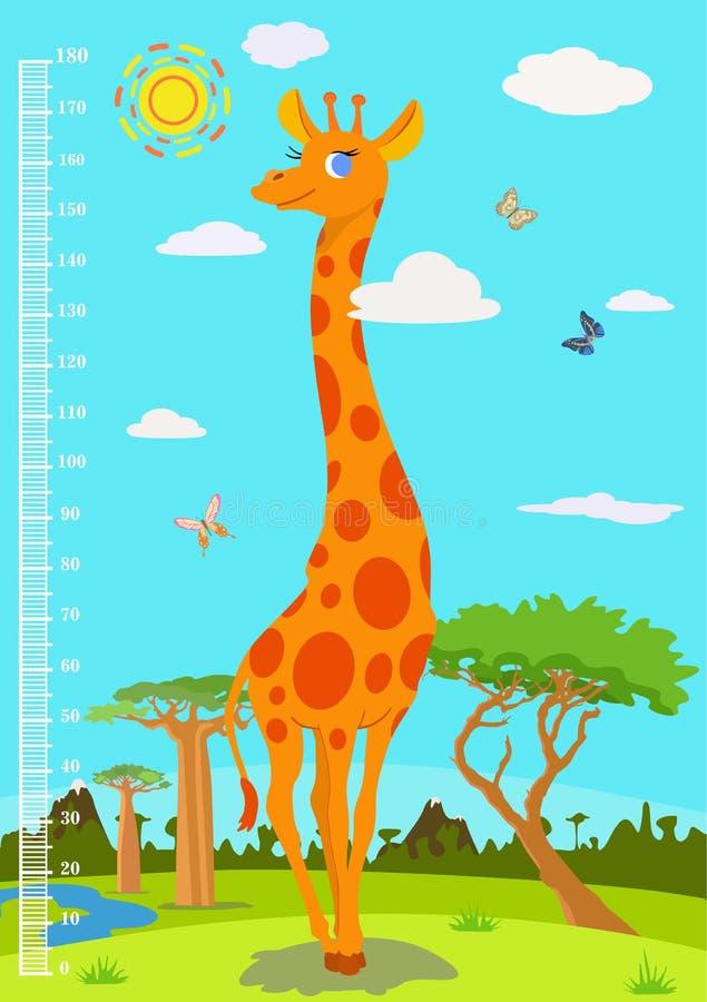 Échelle avec une girafe pour mesurer la croissance des enfants Vecteur illustration stock