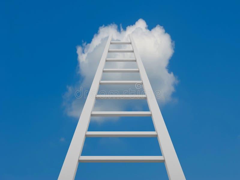 Échelle blanche aboutissant à l'des nuages photos libres de droits