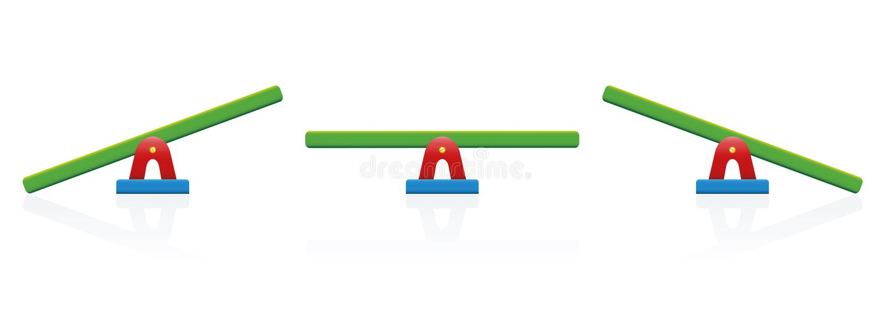 Échelle d'équilibre de bascule colorée illustration de vecteur