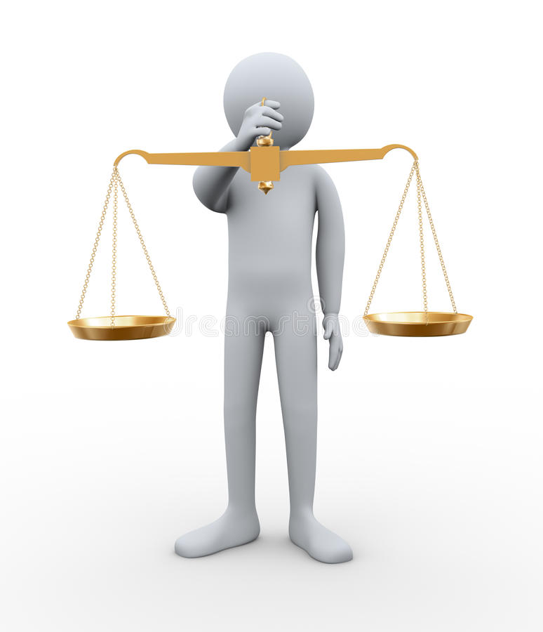 échelle d'équilibre de fixation de l'homme 3d illustration de vecteur