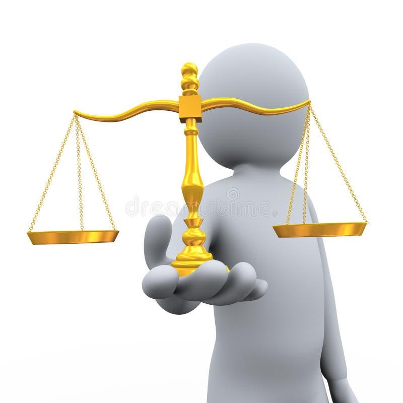 échelle d'équilibre de fixation de l'homme 3d illustration libre de droits