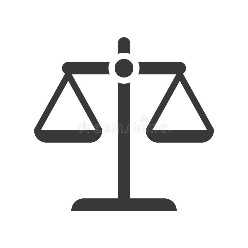 Échelle d'équilibre, loi et icône de justice, conception de glyph illustration libre de droits