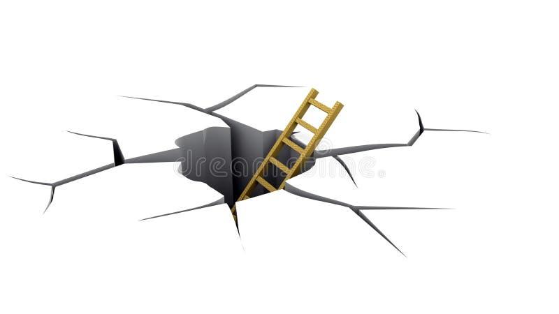 Échelle dans une crevasse illustration de vecteur