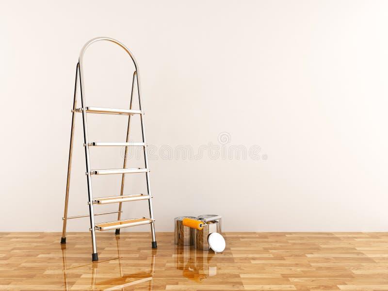 Échelle de construction dans la chambre vide. Stepladder 3D illustration libre de droits