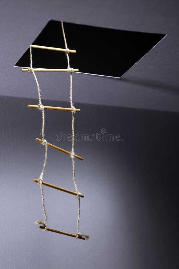 Échelle de corde photographie stock libre de droits