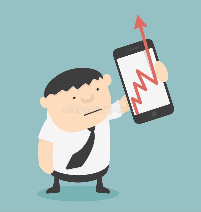 Échelle de croissance d'industrie du spectacle d'homme d'affaires avec des smartphones illustration libre de droits