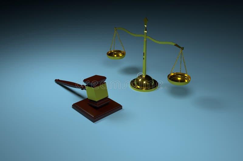 Échelle de justice et marteau en bois de juge illustration de vecteur