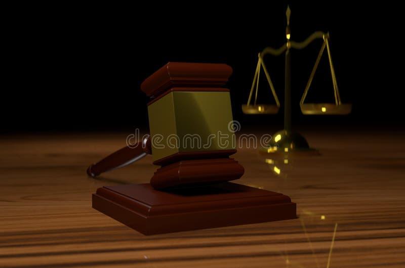 Échelle de justice et marteau de juge, illustration 3D réaliste illustration de vecteur