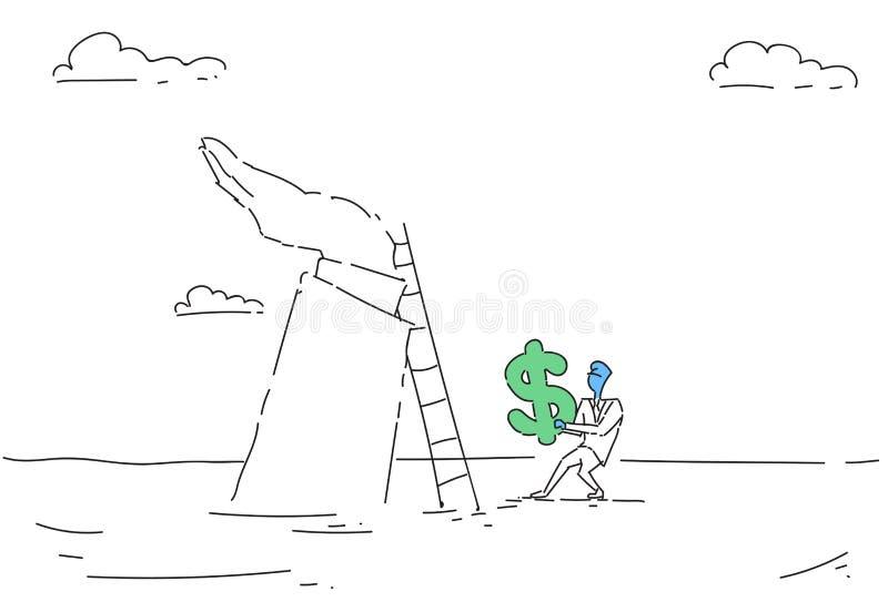 Échelle de montée d'homme d'affaires tenant le succès de finances de concept de croissance d'argent de symbole dollar illustration de vecteur