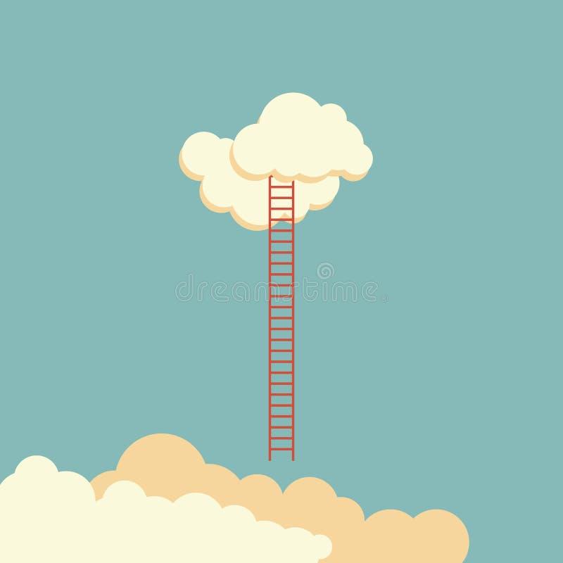 Échelle de succès menant pour opacifier et beaucoup courte Affaires, but, concurrence, unique, progrès, défi, espoir et direction illustration de vecteur