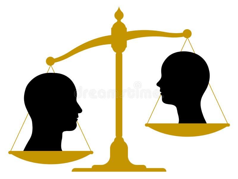 Échelle de vintage avec les têtes masculines et femelles illustration libre de droits