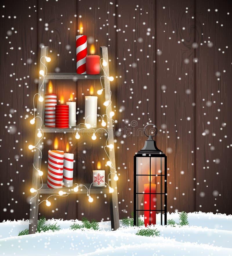 Échelle en bois avec des bougies, des lumières et la lanterne de Noël illustration de vecteur