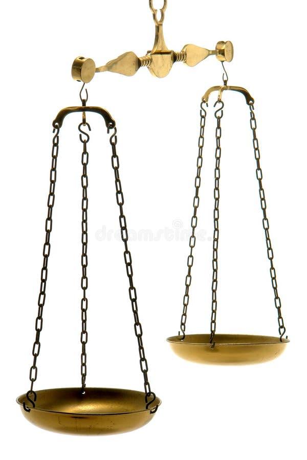 Échelle en laiton d'équilibre de la justice et de la loi d'isolement   images libres de droits