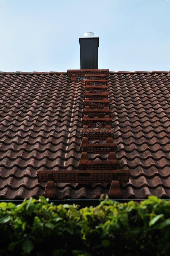 Échelle en métal pour la balayeuse de cheminée sur un toit photo stock