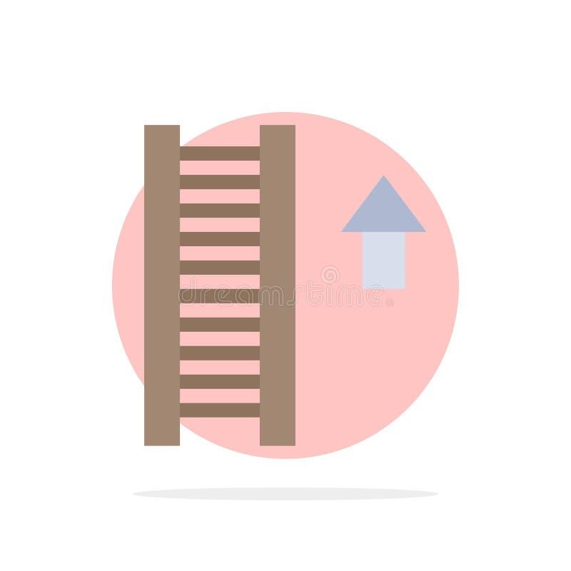 Échelle, escalier, escalier, icône plate de couleur de fond de cercle d'abrégé sur flèche illustration stock