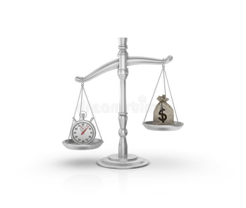 Échelle juridique de poids avec le sac à chronomètre et à argent de dollars illustration stock