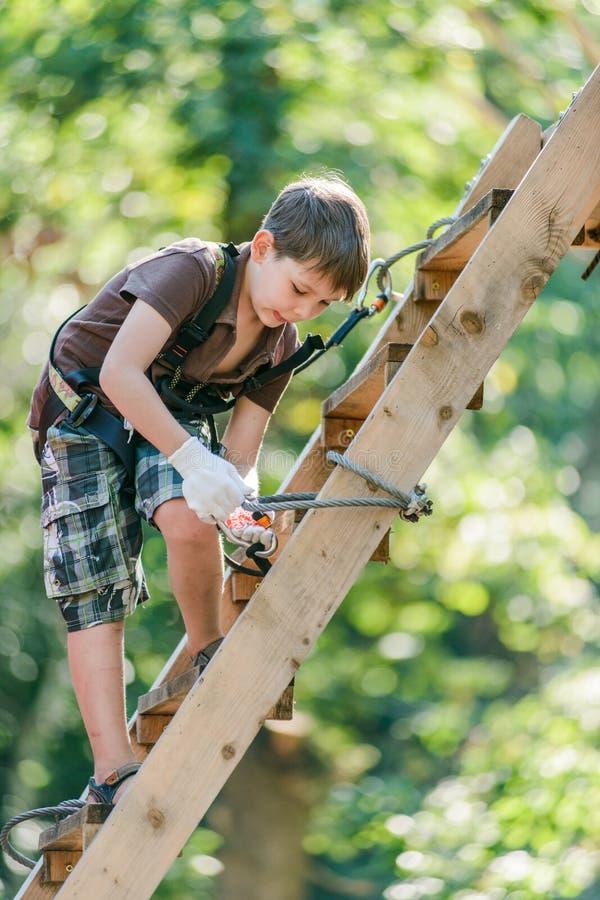 Échelle s'élevante de garçon avec l'équipement en parc de corde d'aventure image stock