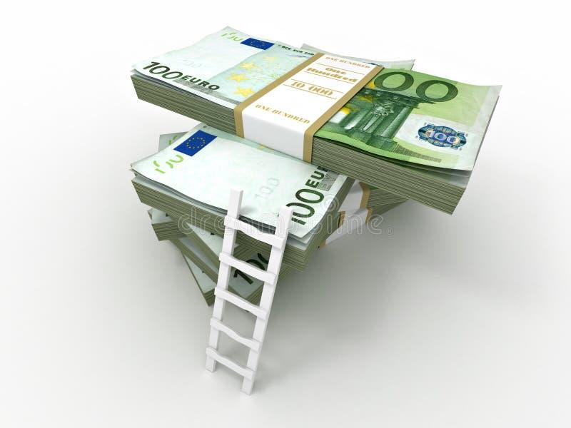 Échelle sur la pile des paquets d'euro illustration stock