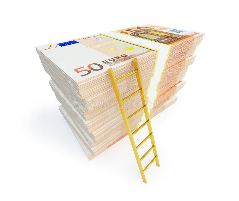 Échelle sur la pile des paquets d'euro illustration libre de droits