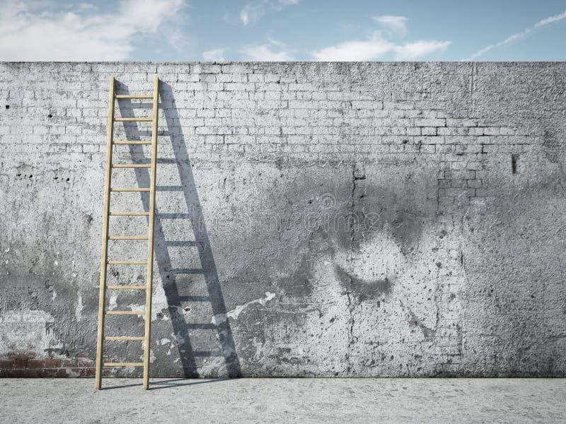 Échelle sur le mur devant le ciel image libre de droits