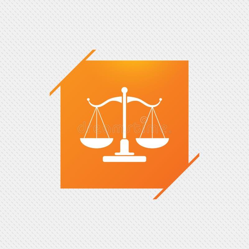 Échelles d'icône de signe de justice Symbole de cour de justice illustration stock