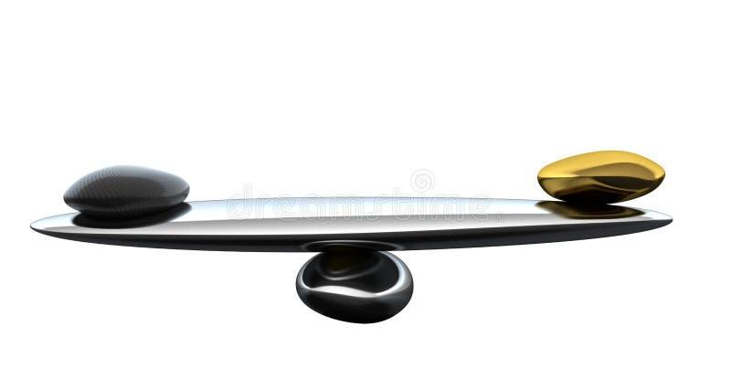 Échelles de stabilité avec la forme et l'or de fibre de carbone illustration libre de droits
