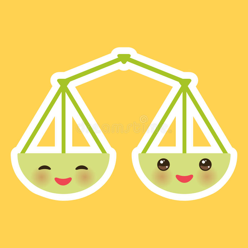 Échelles de vert de Kawaii, sourire et grands yeux sur le fond orange Vecteur illustration de vecteur