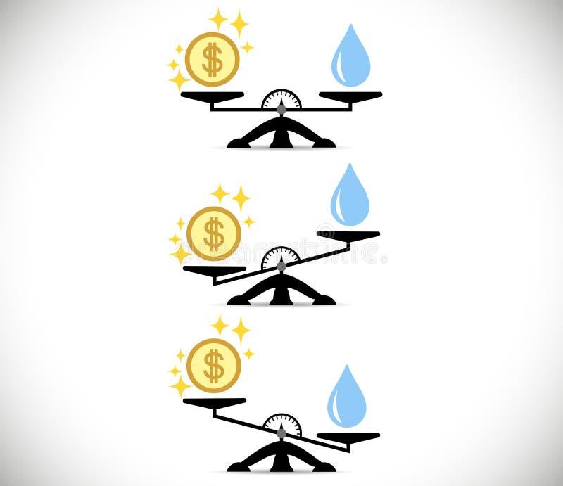 Échelles, eau, argent ou finances Le concept du choix Style plat Illustration de vecteur sur le fond d'isolement illustration stock