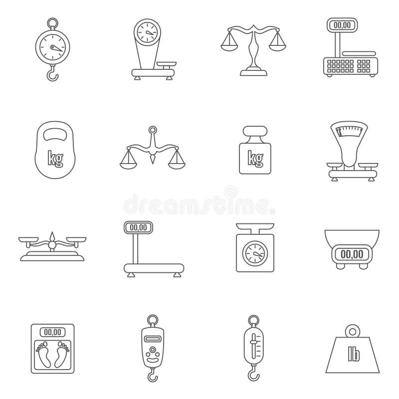 Échelles linéaires et icônes de vecteur de poids réglées illustration de vecteur