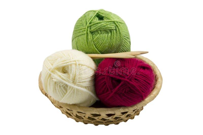 Écheveaux et aiguilles de tricotage dans le panier photos libres de droits